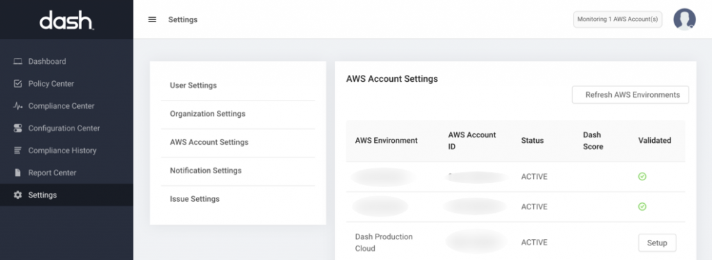 dash aws account