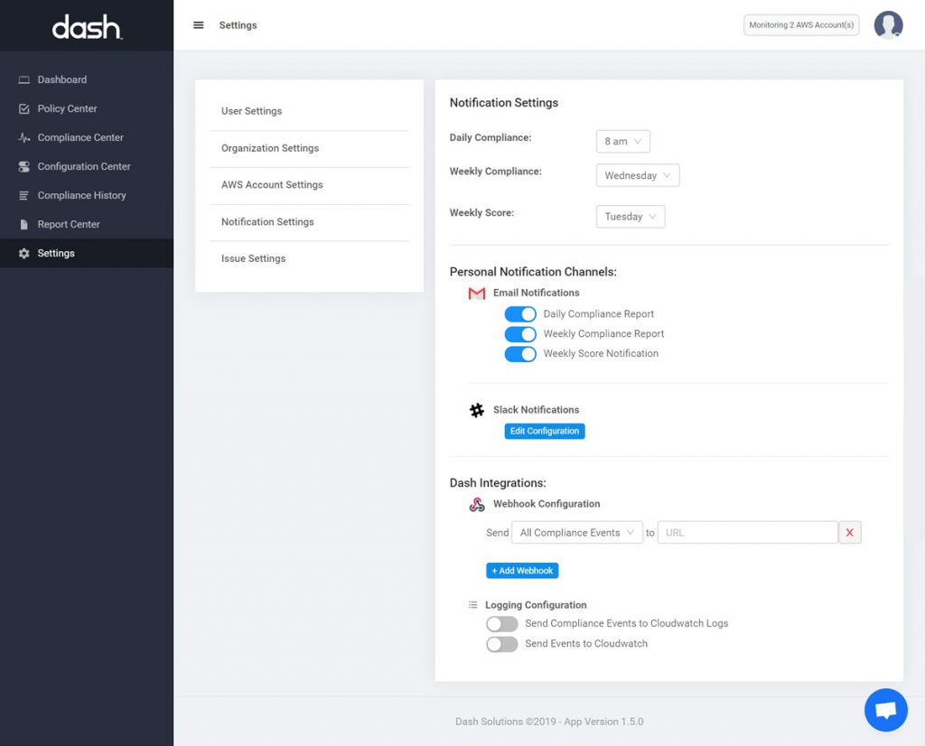 dash cloudwatch hipaa