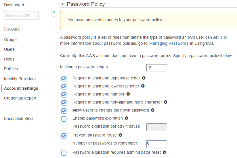 aws iam password policy